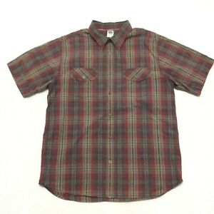 The North Face Red Gray Plaid Button Front Short Sleeve Shirt Men's Size XL