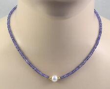 Tansanit-Kette - facettierte Tansanite mit Perle 44,5 cm lang