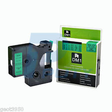 "1 each DYMO 6mm D1 Compatible 43619 Black Green Label Tape 1/4"" x 23'"