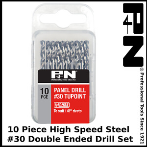 """P&N by Sutton #30 Tupoint Double Ended Drill Bit Pack of 10 suit 1/8"""" Rivets"""