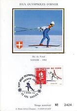 2678 CARTE MAXIMUM SOIE 1er JOUR  SKI DE FOND JO ALBERTVILLE