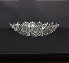 Vintage Crystal Etched Cut Glass Serving Bowl