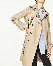 ZARA EMBROIDERED BELTED TRENCH COAT CAMEL TRENCHCOAT MANTEL STICKEREI SIZE S