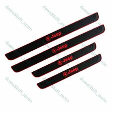 Black Rubber Car Door Scuff Sill Cover Panel Step Protector For Jeep 4PCS New