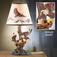 Sculpted American Bald Eagle Family Home Table Lamp w/ Shade