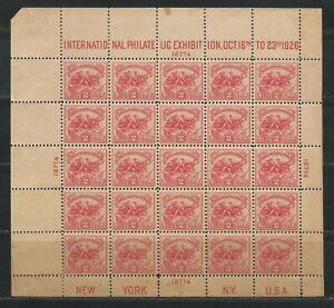USA 1926 sheet Sc. # 630 Mi. # Bl. 1, size 160 x 147 Mint Never Hinged