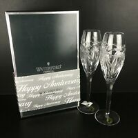Waterford Crystal Champagne Toast Flute Glasses Pair Happy Anniversary Box