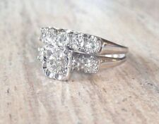 Vintage Estate .80 tcw Real Diamond 14k WG Engagement Wedding Ring Band Set