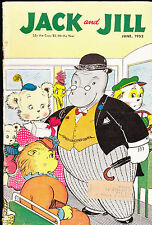 Jack and Jill Magazine Cartoon Hippo on Bus Cover  COMPLETE June 1952