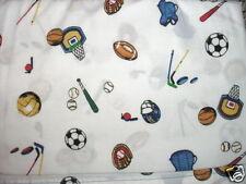 Golf Base Foot Ball Soccer Hockey Twin Top Sheet + Pillowcase Fabric Set