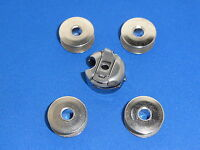INDUSTRIAL SEWING MACHINE BOBBIN CASE & 4 BOBBINS WILL FIT BROTHER, JUKI, JACK