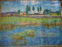 Russian Ukrainian Soviet Oil Painting Impressionism Landscape Village farm XXL