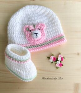 Handmade crochet hat, booties, -baby shoes Beanie Cap  0-3 months white