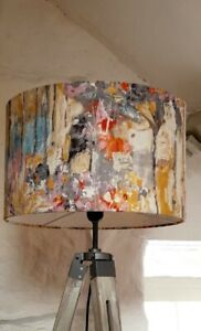 Lampshade Drum  Abstract charcoal  handmade  Pendant Floor Lamp large drum