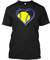 Blue Softball Heart Hanes Tagless Tee T-Shirt