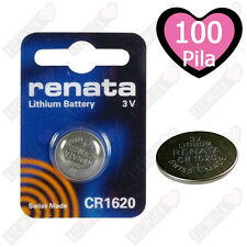 100 BATTERIE A BOTTONE PILE CR1620 3V LITIO RENATA Made Swiss