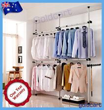 Sturdy 32mm Heavy Duty Movable Garment Rack Coat Hanger Clothes Wardrobe 3 Poles