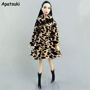 """Leopard Winter Fur Coat for 11.5"""" Doll Outfits Clothes 1/6 BJD Doll Accessories"""