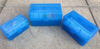 MTM CASE GARD RIFLE RELOADS AMMO CASE R50 SERIES AMMUNITION CLEAR BOX BLUE NEW
