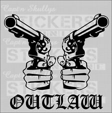 OUTLAW REVOLVERS DECAL 200mm x 180mm Captn Skullys Stickers Online MPN 943