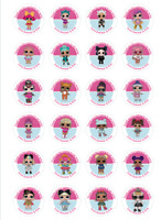 24 Personalised lol dolls, Birthday, Goody Bag Stickers Party Thank You SET 2