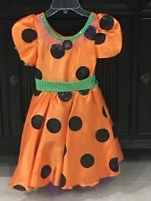New Disney Parks KIDS Minnie Mouse Halloween Dress orange Costume size 7-8