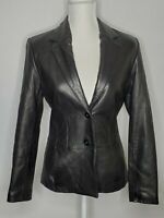 ANONYMOUS JOHN CARLISLE BLACK LEATHER LINED BUTTON JACKET WOMEN'S SIZE S