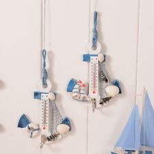 Anchor Shaped Wall Hook Wood Door Hanger Nautical Conch Thermometer Home Decors