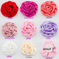 Satin Silk Fabric Flowers For Baby Headbands Hair Accessories DIY Supply 30pcs
