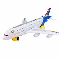 KIDS ELECTRIC LIGHT & MUSIC AIR PLANE AIRBUS A380/747 BUMP AND GO TOY 43 CM