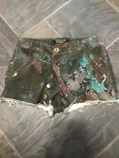 Lanca Perfume Gold Washed Denim Mini Skort Womens 36 Made In Brazil