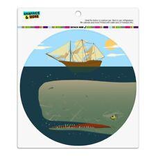 Sperm Whale Under Ship Automotive Car Refrigerator Locker Vinyl Circle Magnet