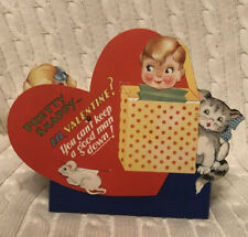 "Vtg 1930's Mechanical Valentine Jack In The Box & Kitten & Mouse ~ 6.25"" ~ Great"
