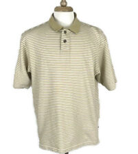 Adidas Climalite Mens Polo Shirt Stripe Casual Golf Size Large Tan White