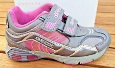 Geox  Leather Sneakers Grey & Pink Girls Sneakers NON- Tie Little Girls Size 10