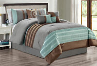 7 Piece Gray Brown Embroidery Comforter Set Queen Or King Size Linen Plus NEW