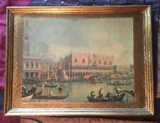 """2 Florentine gilt gold wood carved plaques Venice Italy print scene large 15"""""""