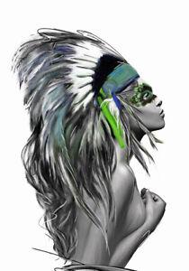 Girl Native American Indian Headdress Art Quality Canvas Print A4