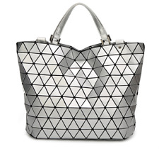 ae61ebcede29 NEW STYLE High Quality BAO BAO Issey Miyake Metallic SILVER TOTE Bag NEW