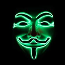 Green LED Light-Up Anonymous Face Mask Guy Fawkes V for Vendetta Halloween Party