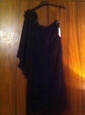 BNWT ONE SHOULDERED CHIFFON DRESS WITH CUTE CHIFFON FLOWER ON SHOULDER SIZE 12