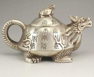 I42 Collection Old Tibetan Silver Hand carved Dragon Turtle  Teapot
