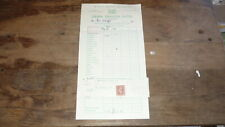 OLD 1950s HOTEL ROOM RECEIPT FROM THE GREEN DRAGON HOTEL HEREFORD