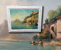 Lago di Lugano. Gandria am Luganer See. Herrliches altes original Ölgemälde