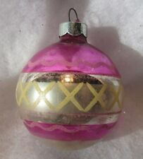 """VINTAGE GLASS CHRISTMAS TREE ORNAMENT OLD PINK 2.5"""" SILVER W/ DESIGN FARMHOUSE"""