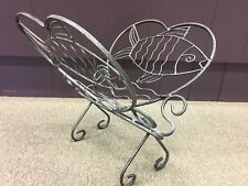 Metal Magazine & Newspaper Rack, Distressed Pewter Gray, Fish-themed, Foldable