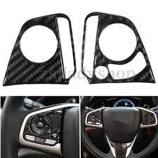 2x Carbon Fiber Steering Wheel Button Cover Trim Case Decor For Honda Civic 2016