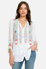 Johnny Was Arges Rayon Tie Neck Sleeve White Embroidered Blouse Floral Large NEW