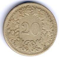 Schweiz 20 Rappen 1851 BB. -Strasbourg (Billon) D.T. 310, KM#7, RARE