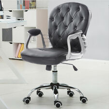 Office Swivel Chair Retro Button Back Adjustable PU Leather Wheel Seat Black